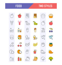 set line icons food vector image