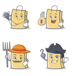 set of bag character with doctor money bag farmer vector image