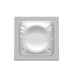 Silver condom packaging isolated on white vector