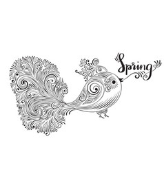 spring greeting card with bird vector image