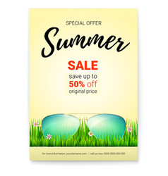 summer sale promo poster with 50 percent discount vector image