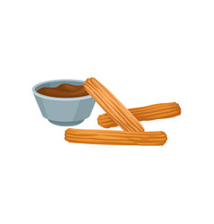 Sweet homemade churros with chocolate dipping vector