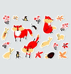 Tags with animals and florals in childrens style vector