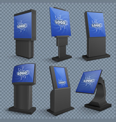 Touch screen computer terminals lcd standing vector