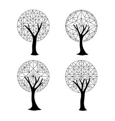 Tree element set in abstract geometric style vector