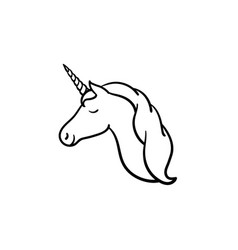 unicorn head with horn hand drawn sketch icon vector image