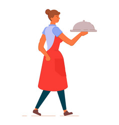 Waitress in apron with tray under lid isolated on vector
