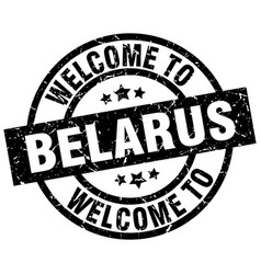 Welcome to belarus black stamp vector