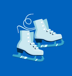 white flat cartoon ice skates and blade trails on vector image