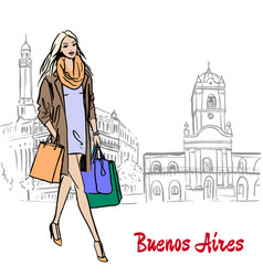 woman in buenos aires vector image