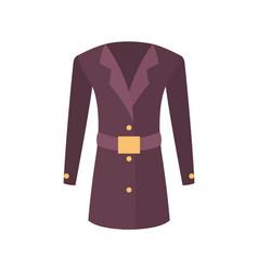 Women coat with belt outer garment extend to hips vector