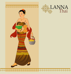 women dress thai lanna vector image