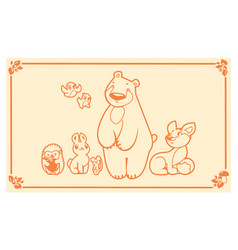 Woodland animals set characters bear fox vector