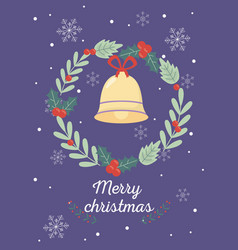 wreath bell celebration happy christmas vector image