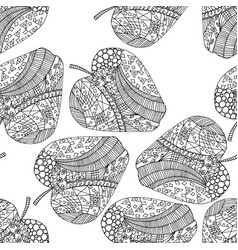 zen tangle apple doodle seamless pattern with vector image