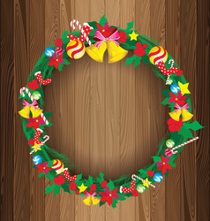 Christmas Wreath on Wooden Board background vector image vector image