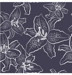 Seamless pattern white lily on a dark background vector image vector image