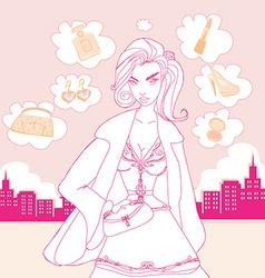 stylish shopping girl vector image