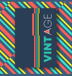 vintage color lines poster vector image