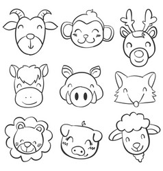 animal head of doodle style vector image vector image
