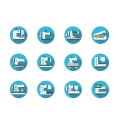 Blue round flat sewing machines icons vector
