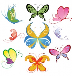 collection of different multicolored butterfly vector image