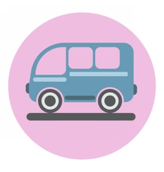 Digital blue bus icon on pink circle vector image vector image
