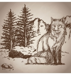 hand drawing fox sitting landscape vintage vector image