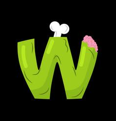 letter w zombie font monster alphabet bones and vector image vector image