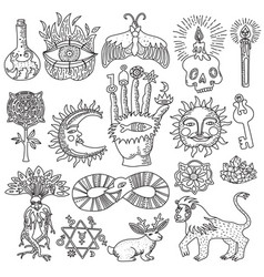 magic tattoo set vector image vector image