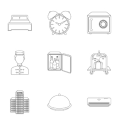 Hotel set icons in outline style Big collection vector image vector image