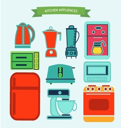 kitchen appliances icons in flat vector image