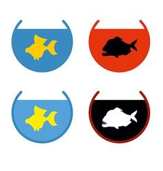 Set of aquarium fish goldfish in an aquarium fish vector