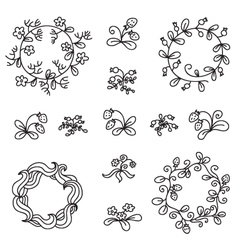 Set of hand-draw floral wreaths vector image vector image