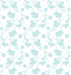 blue floral silhouette seamless pattern tile vector image vector image