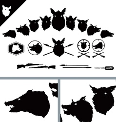 Boar Hunter Heads set vector image
