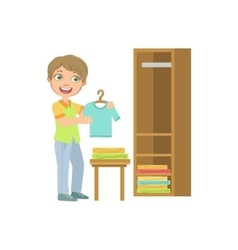 Boy Putting Clean Clothes In Dresser vector image vector image