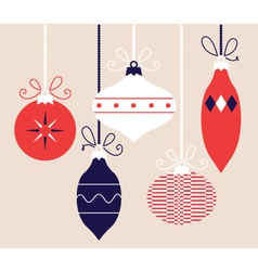 Colorful retro Christmas balls collection vector image vector image