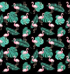 cute retro seamless flamingo pattern background vector image