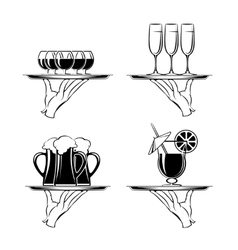 Hand with tray and drinks restaurant silhouettes vector image vector image