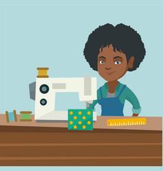 Seamstress using a sewing machine at the workshop vector