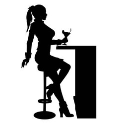 Silhouette woman sitting at the bar with cocktail vector image vector image