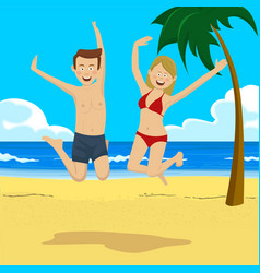 teenage couple jumping on tropical beach vector image vector image