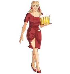 waitress blond beer restaurant vector image
