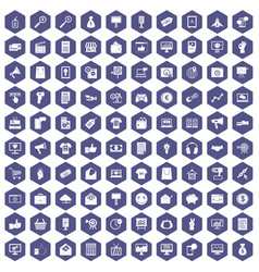 100 internet marketing icons hexagon purple vector image