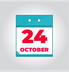 24 october flat daily calendar icon vector image
