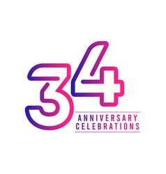 34 years anniversary celebration template design vector