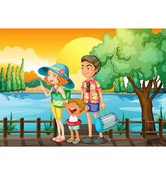 A family standing at the port vector image