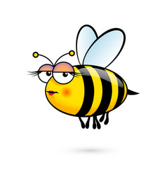 a friendly cute female bee with expression on vector image