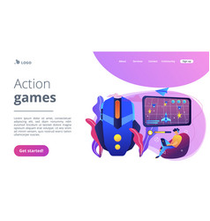 Action game concept landing page vector